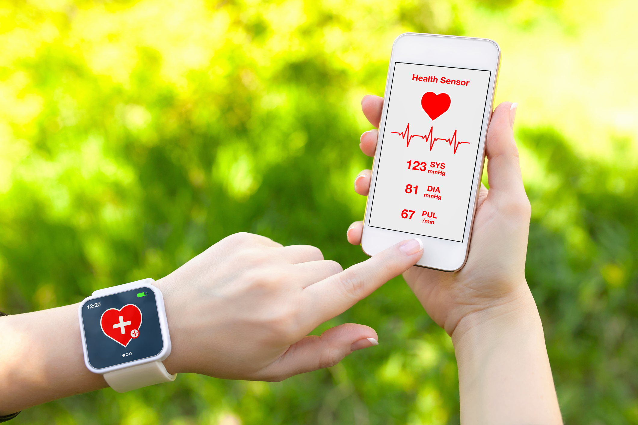 http://www.dreamstime.com/stock-photography-touch-phone-smart-watch-mobile-app-health-sensor-female-hands-holding-image40021002